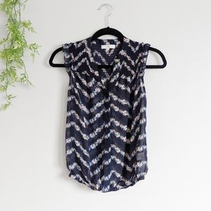 (Love Fire) Blue Floral Sheer Small Tank